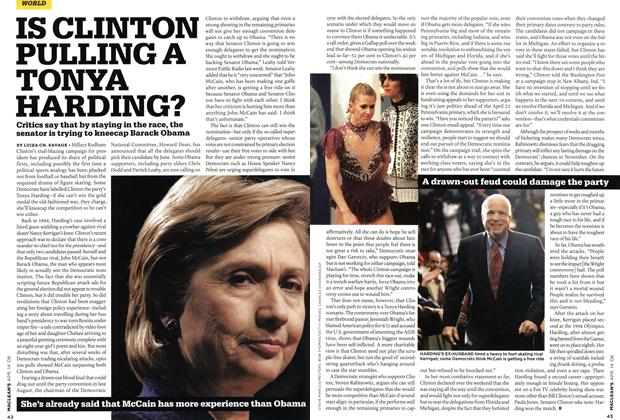 Article Preview: IS CLINTON PULLING A TONYA HARDING?, APR. 14th 2008 2008 | Maclean's