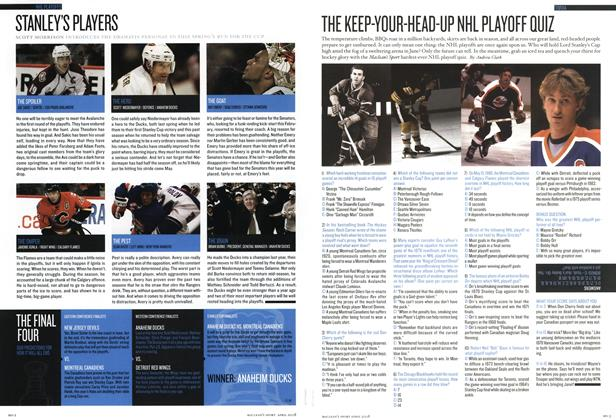 Article Preview: THE KEEP-YOUR-HEAD-UP NHL PLAYOFF QUIZ, APR. 21st 2008 2008 | Maclean's