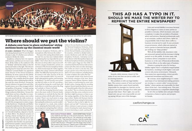 Article Preview: Where should we put the violins?, MAY 5th 2008 2008 | Maclean's