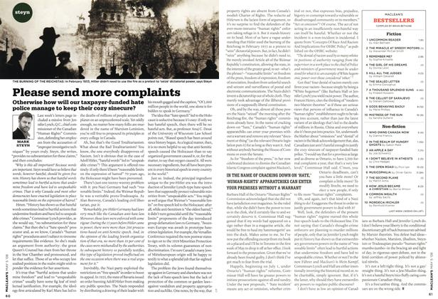 Article Preview: Please send more complaints, MAY 5th 2008 2008 | Maclean's