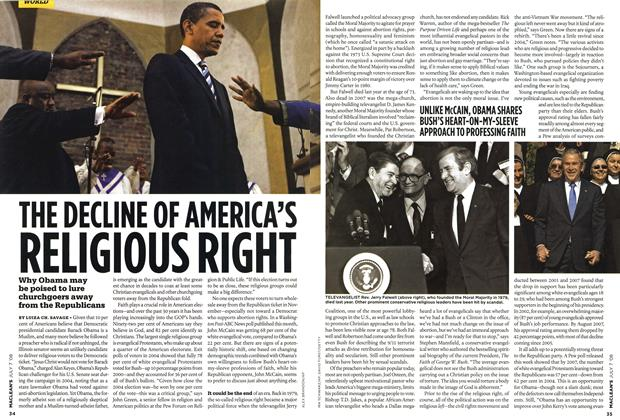 Article Preview: THE DECLINE OF AMERICA'S RELIGIOUS RIGHT, JULY 7th 2008 2008 | Maclean's