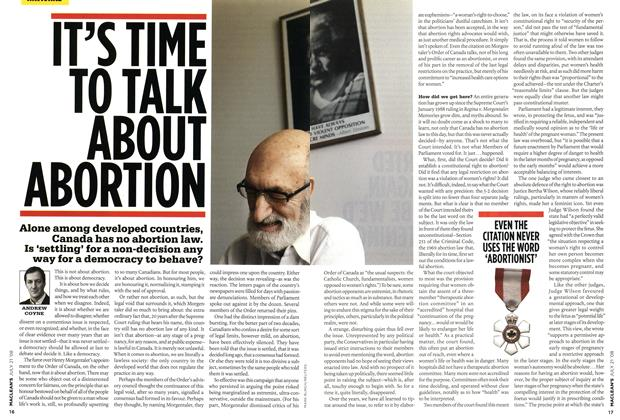 Article Preview: IT'S TIME TO TALK ABOUT ABORTION, JULY 21st 2008 2008 | Maclean's