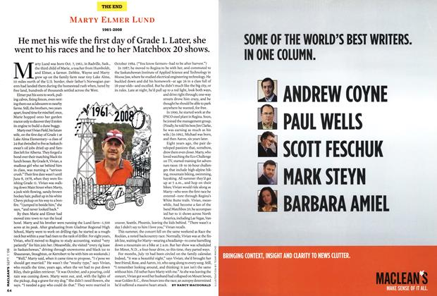 Article Preview: MARTY ELMER LUND 1961-2008, September 2008 | Maclean's
