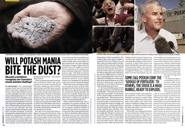 Article Preview: WILL POTASH MANIA BITE THE DUST?, SEPT. 8TH 2008 2008 | Maclean's