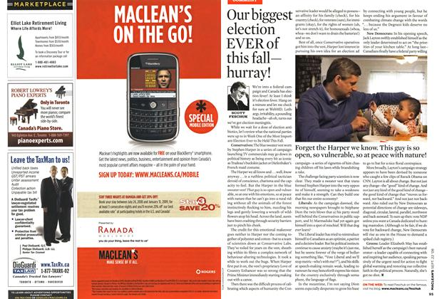 Article Preview: Our biggest election EVER of this fallhurray!, SEPT. 22nd 2008 2008 | Maclean's