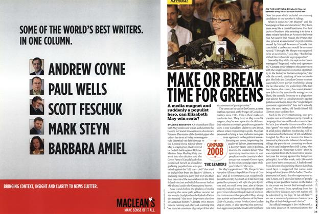 Article Preview: MAKE OR BREAK TIME FOR GREENS, SEPT. 29th 2008 2008 | Maclean's