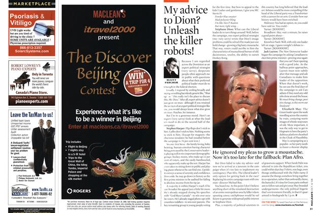 Article Preview: My advice to Dion? Unleash the killer robots!, OCT. 6th 2008 2008 | Maclean's
