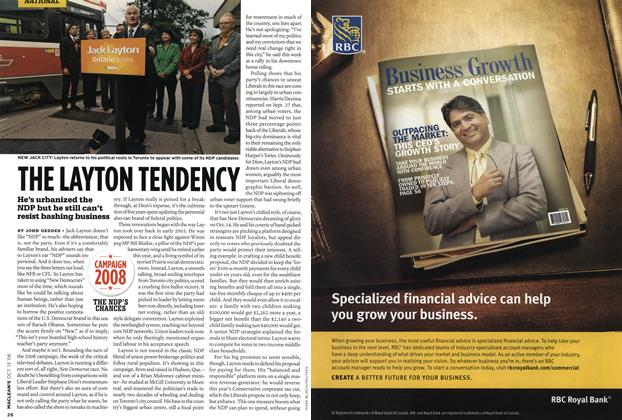 Article Preview: THE LAYTON TENDENCY, OCT. 13th 2008 2008 | Maclean's