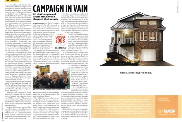 Article Preview: CAMPAIGN IN VAIN, OCT. 13th 2008 2008 | Maclean's