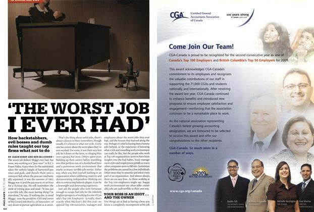 Article Preview: 'THE WORST JOB I EVER HAD', OCT. 13th 2008 2008 | Maclean's