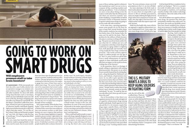 Article Preview: GOING TO WORK ON SMART DRUGS, OCT. 13th 2008 2008 | Maclean's