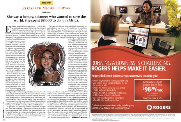 Article Preview: She was a beauty, a dancer who wanted to save the world. She spent $8,000 to do it in Africa., OCT. 13th 2008 2008 | Maclean's