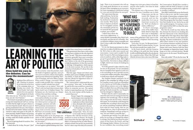 Article Preview: LEARNING THE ART OF POLITICS, October 2008 | Maclean's