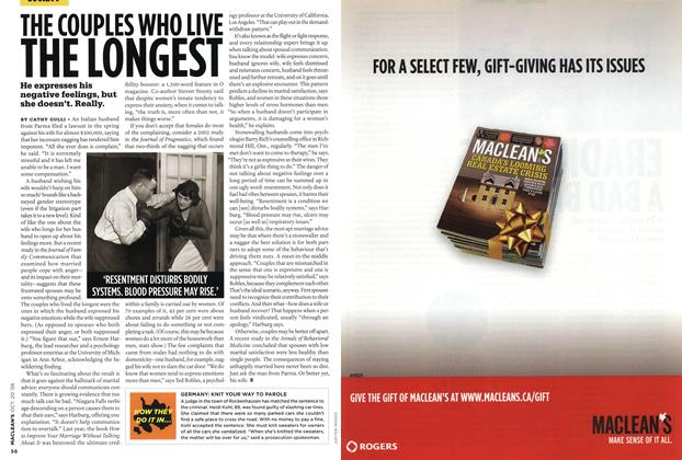 Article Preview: THE COUPLES WHO LIVE THE LONGEST, October 2008 | Maclean's