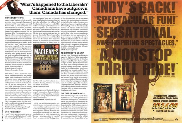 Article Preview: 'What's happened to the Liberals? Canadians have outgrown them. Canada has changed.', October 2008 | Maclean's
