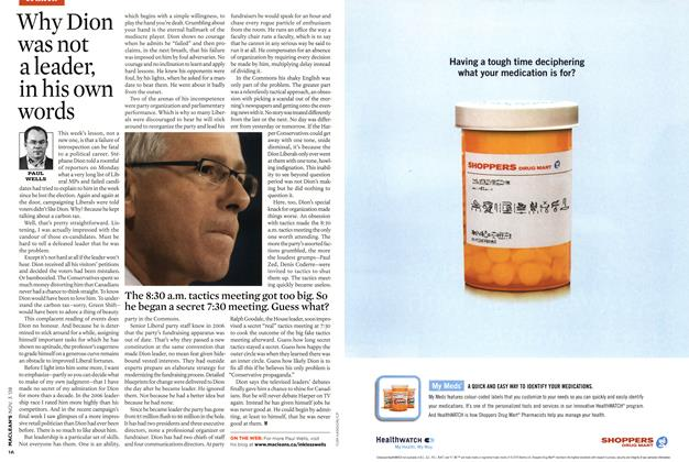 Article Preview: Why Dion was not a leader, in his own words, NOV. 3rd 2008 2008 | Maclean's