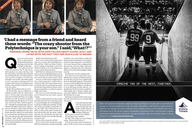 "Article Preview: 'I had a message from a friend and heard these words: ""The crazy shooter from the Polytechnique is your son."" I said,""What!?""', NOV. 3rd 2008 2008 