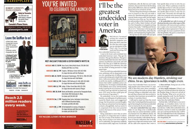Article Preview: I'll be the greatest undecided voter in America, NOV. 10th 2008 2008 | Maclean's