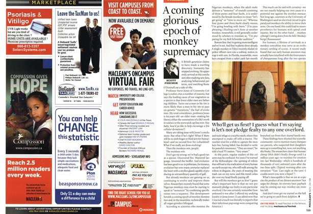 Article Preview: A coming glorious epoch of monkey supremacy, NOV. 24th 2008 2008 | Maclean's