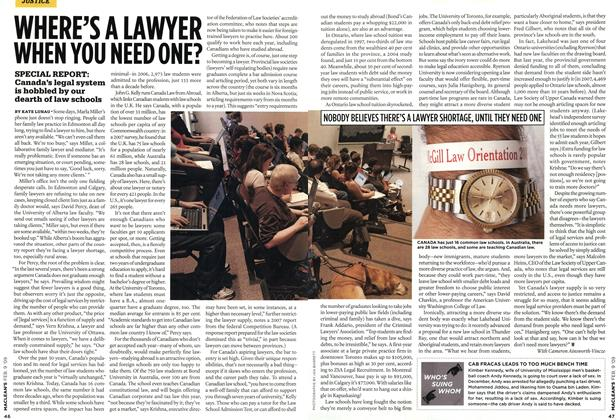 Article Preview: WHERE'S A LAWYER WHEN YOU NEED ONE?, FEB. 9th 2009 2009 | Maclean's