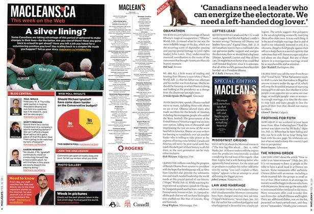 Article Preview: 'Canadians need a leader who can energize the electorate. We need a left-handed dog lover.', FEB. 16th 2009 2009 | Maclean's