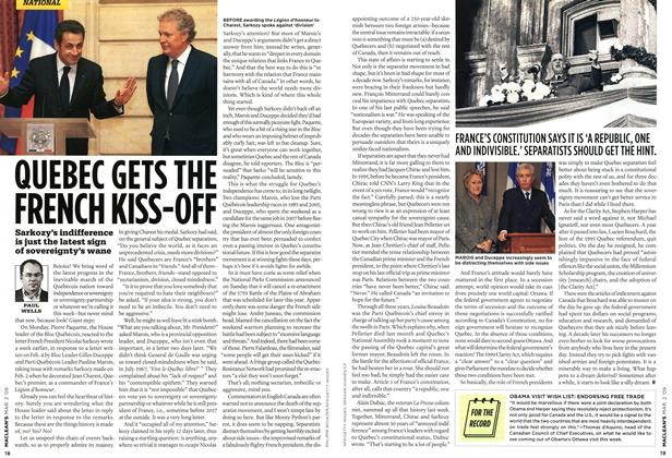 Article Preview: QUEBEC GETS THE FRENCH KISS-OFF, MAR. 2nd 2009 2009 | Maclean's