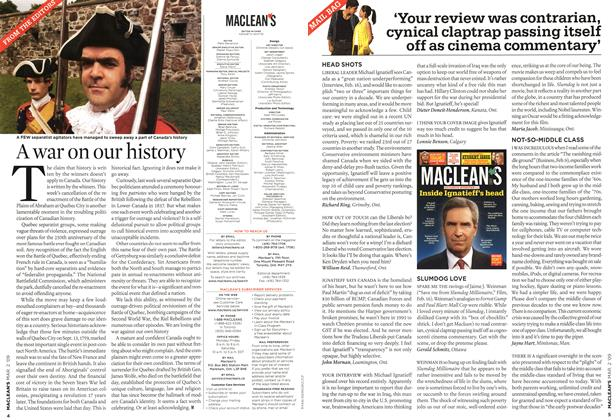 Article Preview: 'Your review was contrarian, cynical claptrap passing itself off as cinema commentary', MAR. 2nd 2009 2009 | Maclean's
