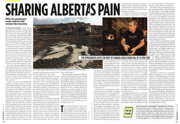 Article Preview: SHARING ALBERTAS PAIN, APR. 6th 2009 2009 | Maclean's