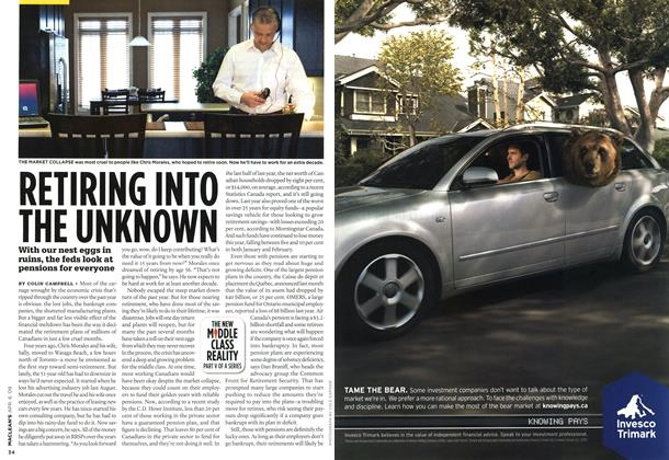Article Preview: RETIRING INTO THE UNKNOWN, APR. 6th 2009 2009   Maclean's