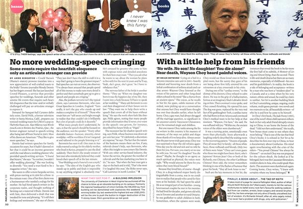 Article Preview: No more wedding-speech cringing, APR. 6th 2009 2009 | Maclean's