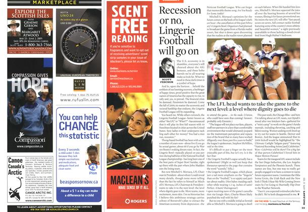 Article Preview: Recession or no, Lingerie Football will go on, APR. 6th 2009 2009 | Maclean's