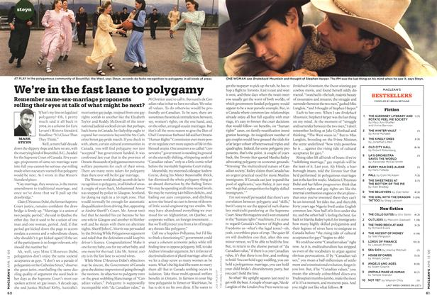 Article Preview: We're In the fast lane to polygamy, April 2009 | Maclean's