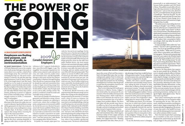 Article Preview: THE POWER OF GOING GREEN, APR. 27th 2009 2009 | Maclean's