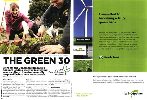 Article Preview: THE GREEN 30, APR. 27th 2009 2009 | Maclean's