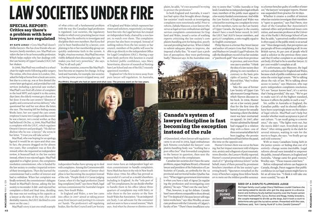 Article Preview: LAW SOCIETIES UNDER FIRE, MAY 4th 2009 2009 | Maclean's