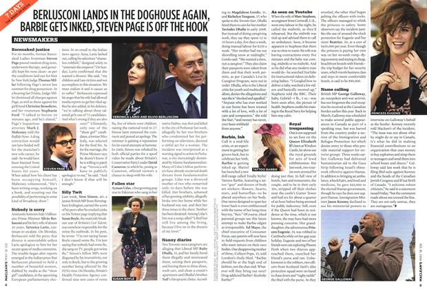 Article Preview: BERLUSCONI LANDS IN THE DOGHOUSE AGAIN, BARBIE GETS INKED, STEVEN PAGE IS OFF THE HOOK, MAY 18th 2009 2009 | Maclean's
