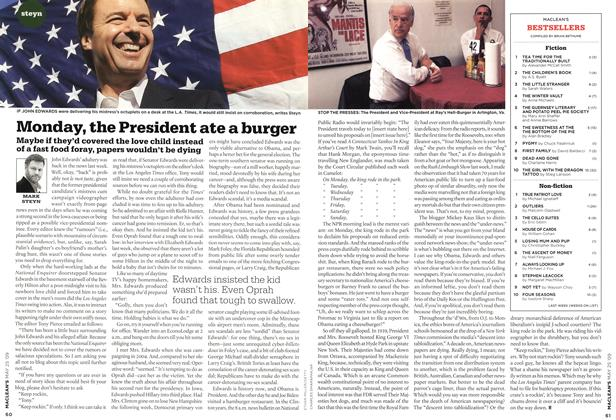 Article Preview: Monday, the President ate a burger, MAY 25th 2009 2009 | Maclean's