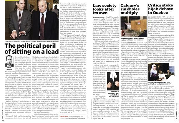 Article Preview: The political peril of sitting on a lead, JUNE 1st 2009 2009 | Maclean's