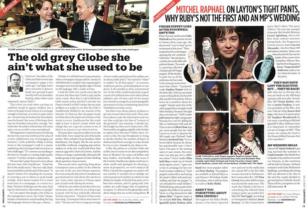 Article Preview: The old grey Globe she ain't what she used to be, JUNE 8th 2009 2009 | Maclean's