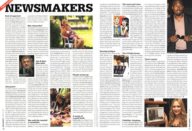 Article Preview: NEWSMAKERS, JUNE 15th 2009 2009 | Maclean's