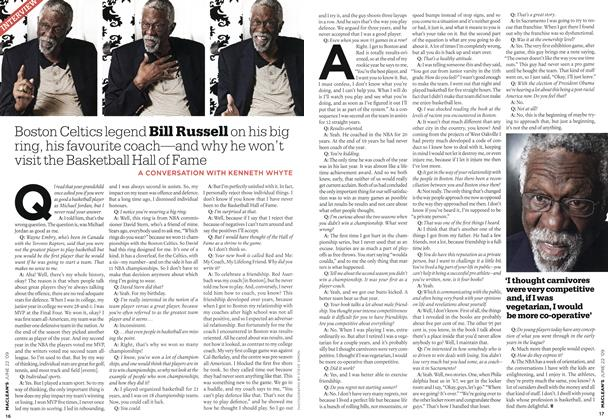 Article Preview: Boston Celtics legend Bill Russell on his big ring, his favourite coach—and why he won't visit the Basketball Hall of Fame, JUNE 22nd 2009 2009 | Maclean's