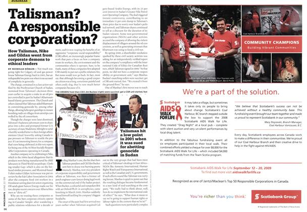 Article Preview: Talisman? A responsible corporation?, JUNE 22nd 2009 2009 | Maclean's