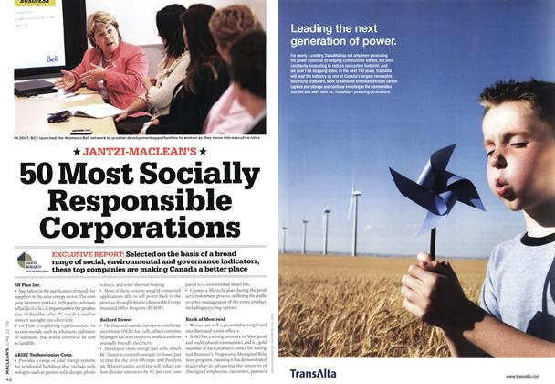Article Preview: 50 Most Socially Responsible Corporations, JUNE 22nd 2009 2009 | Maclean's