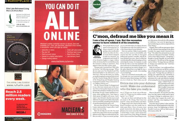 Article Preview: C'mon, defraud me like you mean it, JULY 20th 2009 2009 | Maclean's