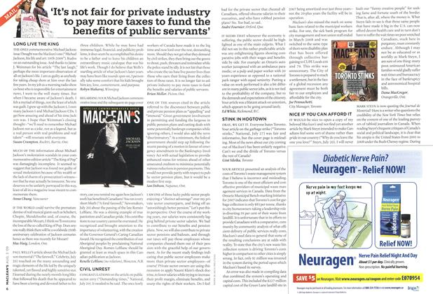 Article Preview: 'It's not fair for private industry to pay more taxes to fund the benefits of public servants', AUG. 3rd 2009 2009 | Maclean's
