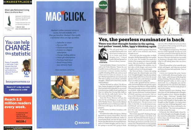 Article Preview: Yes, the peerless ruminator is back, AUG. 17th 2009 2009 | Maclean's