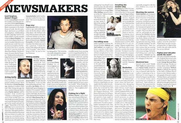 Article Preview: NEWSMAKERS, AUG. 17th 2009 2009 | Maclean's