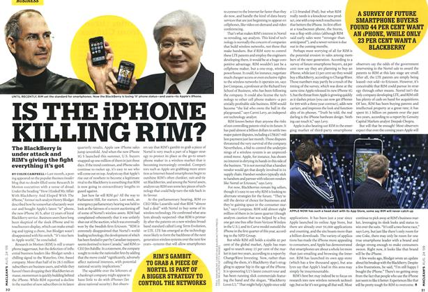 Article Preview: IS THE iPHONE KILLING RIM?, AUG. 24th 2009 2009 | Maclean's