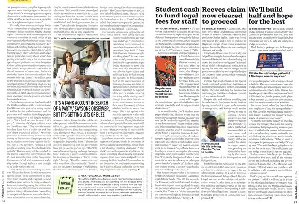 Article Preview: Reeves claim now cleared to proceed, AUG. 31st 2009 2009 | Maclean's