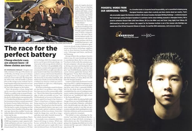 Article Preview: The race for the perfect battery, AUG. 31st 2009 2009 | Maclean's